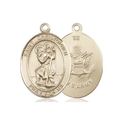 "St, Christopher Army Medal Necklace - 14K Gold Filled - 3/4 Inch Tall x 1/2 Inch Wide with 18"" Chain"