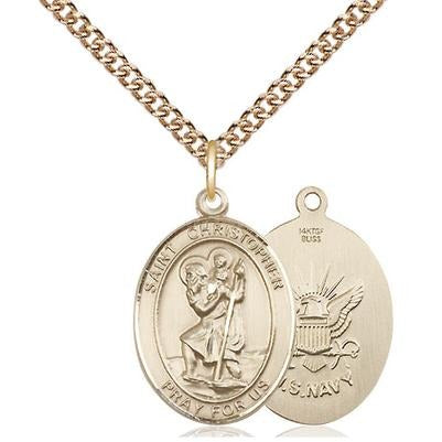 "St. Christopher Navy Medal Necklace - 14K Gold Filled - 3/4 Inch Tall x 1/2 Inch Wide with 24"" Chain"
