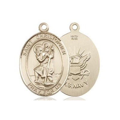 "St. Christopher Navy Medal Necklace - 14K Gold Filled - 3/4 Inch Tall x 1/2 Inch Wide with 18"" Chain"