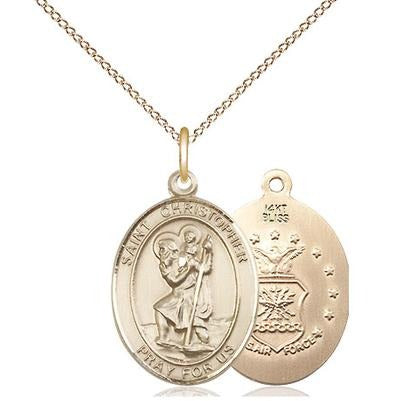 "St. Christopher Air Force Medal Necklace - 14K Gold - 3/4 Inch Tall x 1/2 Inch Wide with 18"" Chain"