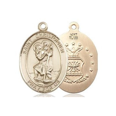 "St. Christopher Air Force Medal Necklace - 14K Gold - 3/4 Inch Tall x 1/2 Inch Wide with 24"" Chain"