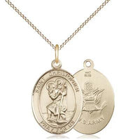 "St. Christopher Army Medal Necklace - 14K Gold - 3/4 Inch Tall x 1/2 Inch Wide with 18"" Chain"