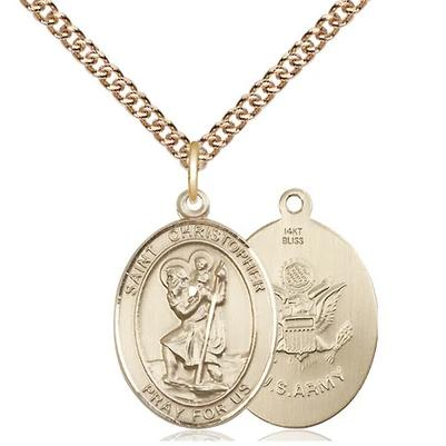 "St. Christopher Army Necklace - 14K Gold - 3/4 Inch Tall x 1/2 Inch Wide with 24"" Chain"