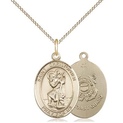 "St. Christopher Coast Guard Medal Necklace - 14K Gold - 3/4 Inch Tall x 1/2 Inch Wide with 18"" Chain"