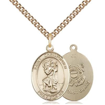 "St. Christopher Coast Guard Medal Necklace - 14K Gold - 3/4 Inch Tall x 1/2 Inch Wide with 24"" Chain"