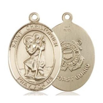 St. Christopher Coast Guard Medal - 14K Gold - 3/4 Inch Tall x 1/2 Inch Wide
