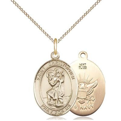 "St. Christopher Navy Medal Necklace - 14K Gold - 3/4 Inch Tall x 1/2 Inch Wide with 18"" Chain"