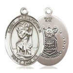 St. Christopher Air Force Medal - Pewter - 3/4 Inch Tall x 1/2 Inch Wide