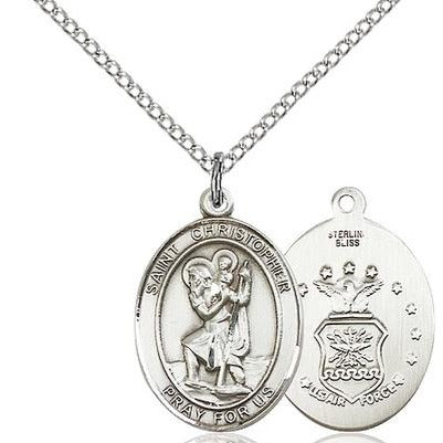 "St. Christopher Air Force Medal Necklace - Sterling Silver - 3/4 Inch Tall x 1/2 Inch Wide with 18"" Chain"