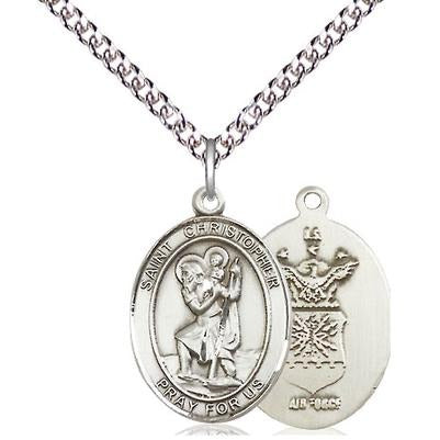 "St. Christopher Air Force Medal Necklace - Sterling Silver - 3/4 Inch Tall x 1/2 Inch Wide with 24"" Chain"