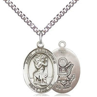 "St. Christopher Army Medal Necklace - Sterling Silver - 3/4 Inch Tall x 1/2 Inch Wide with 24"" Chain"