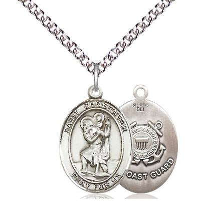 "St. Christopher Coast Guard Medal Necklace - Sterling Silver - 3/4 Inch Tall x 1/2 Inch Wide with 24"" Chain"