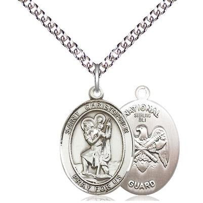 "St. Christopher National Guard Medal Necklace - Sterling Silver - 3/4 Inch Tall x 1/2 Inch Wide with 24"" Chain"