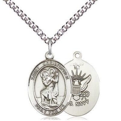 "St. Christopher Navy Medal Necklace - Sterling Silver - 3/4 Inch Tall x 1/2 Inch Wide with 24"" Chain"