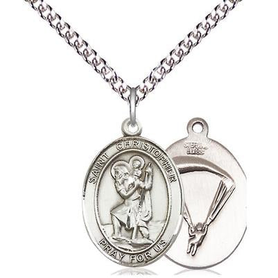 "St. Christopher Paratrooper Medal Necklace - Sterling Silver - 3/4 Inch Tall x 1/2 Inch Wide with 24"" Chain"