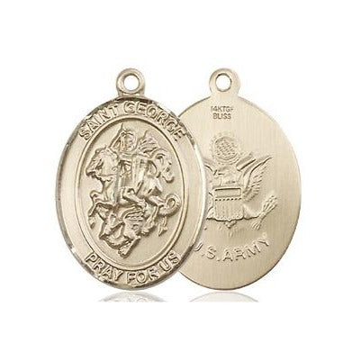 "St. George Army Medal Necklace - 14K Gold Filled - 3/4 Inch Tall x 1/2 Inch Wide with 24"" Chain"