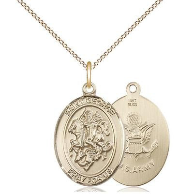 "St. George Army Medal Necklace - 14K Gold - 3/4 Inch Tall x 1/2 Inch Wide with 18"" Chain"