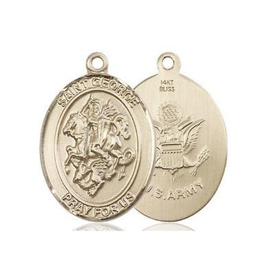 "St. George Army Medal Necklace - 14K Gold - 3/4 Inch Tall x 1/2 Inch Wide with 24"" Chain"