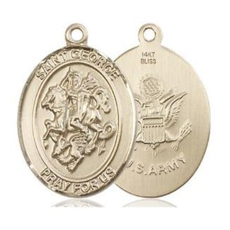 St. George Army Medal - 14K Gold - 3/4 Inch Tall x 1/2 Inch Wide