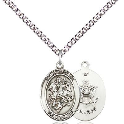 "St. George Army Medal Necklace - Sterling Silver - 3/4 Inch Tall x 1/2 Inch Wide with 24"" Chain"