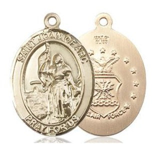 St. Joan of Arc Air Force Medal - 14K Gold Filled - 3/4 Inch Tall x 1/2 Inch Wide