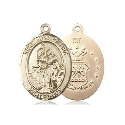 "St. Joan of Arc Air Force Medal Necklace - 14K Gold Filled - 3/4 Inch Tall x 1/2 Inch Wide with 18"" Chain"