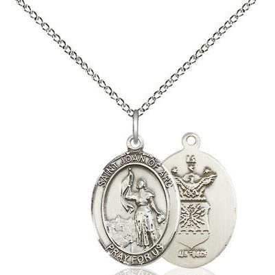 "St. Joan of Arc Air Force Medal Necklace - Sterling Silver - 3/4 Inch Tall x 1/2 Inch Wide with 18"" Chain"