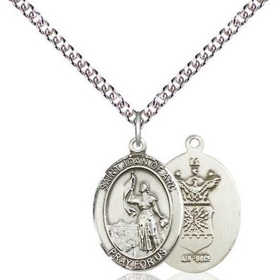 "St. Joan of Arc Air Force Medal Necklace - Sterling Silver - 3/4 Inch Tall x 1/2 Inch Wide with 24"" Chain"