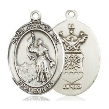 St. Joan of Arc Air Force Medal - Sterling Silver - 3/4 Inch Tall x 1/2 Inch Wide
