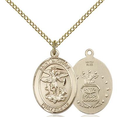 "St. Michael Air Force Medal Necklace - 14K Gold Filled - 3/4 Inch Tall x 1/2 Inch Wide with 18"" Chain"