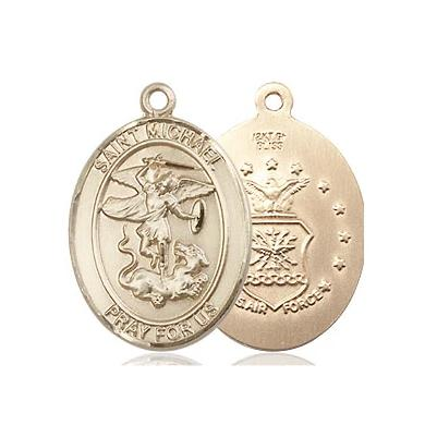 "St. Michael Air Force Medal Necklace - 14K Gold Filled - 3/4 Inch Tall x 1/2 Inch Wide with 24"" Chain"