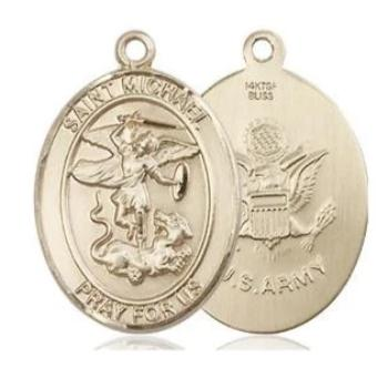 St. Michael Army Medal - 14K Gold Filled - 3/4 Inch Tall x 1/2 Inch Wide