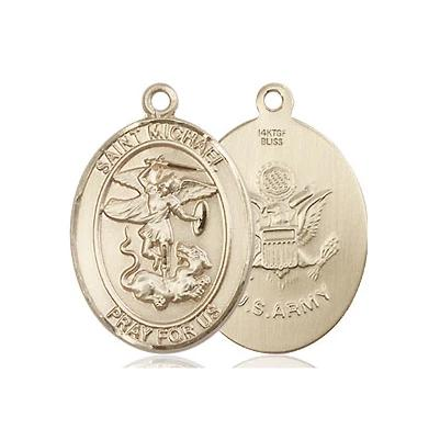 "St. Michael Army Medal Necklace - 14K Gold Filled - 3/4 Inch Tall x 1/2 Inch Wide with 24"" Chain"