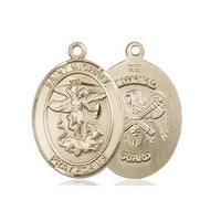 "St. Michael National Guard Medal Necklace - 14K Gold Filled - 3/4 Inch Tall x 1/2 Inch Wide with 24"" Chain"