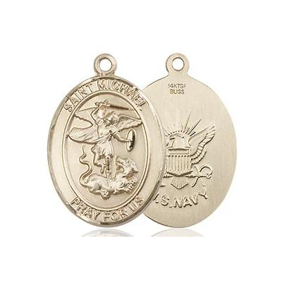 "St. Michael Navy Medal Necklace - 14K Gold Filled - 3/4 Inch Tall x 1/2 Inch Wide with 18"" Chain"