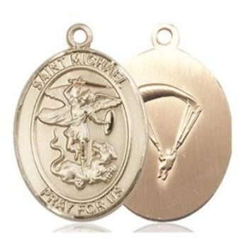 St. Michael Paratrooper Medal - 14K Gold Filled - 3/4 Inch Tall x 1/2 Inch Wide