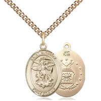 "St. Michael Air Force Medal Necklace - 14K Gold - 3/4 Inch Tall x 1/2 Inch Wide with 24"" Chain"
