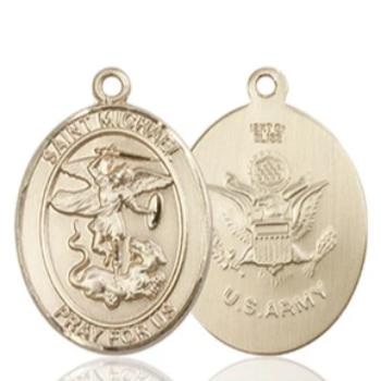 St. Michael Army Medal - 14K Gold - 3/4 Inch Tall x 1/2 Inch Wide