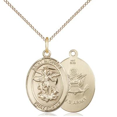 "St. Michael Army Medal Necklace - 14K Gold - 3/4 Inch Tall x 1/2 Inch Wide with 18"" Chain"