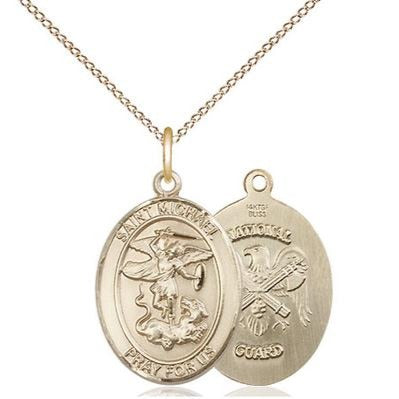 "St. Michael National Guard Medal Necklace - 14K Gold - 3/4 Inch Tall x 1/2 Inch Wide with 18"" Chain"