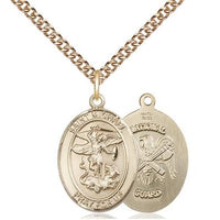 "St. Michael National Guard Medal Necklace - 14K Gold - 3/4 Inch Tall x 1/2 Inch Wide with 24"" Chain"