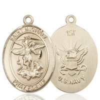 St. Michael Navy Medal - 14K Gold - 3/4 Inch Tall x 1/2 Inch Wide