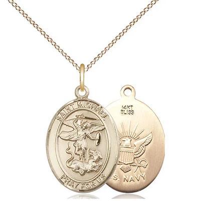 "St. Michael Navy Medal Necklace - 14K Gold - 3/4 Inch Tall x 1/2 Inch Wide with 18"" Chain"