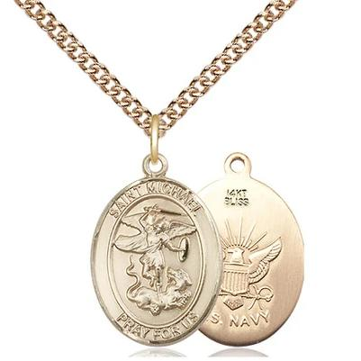 "St. Michael Navy Medal Necklace - 14K Gold - 3/4 Inch Tall x 1/2 Inch Wide with 24"" Chain"
