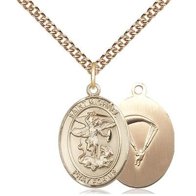 "St. Michael Paratrooper Medal Necklace - 14K Gold - 3/4 Inch Tall x 1/2 Inch Wide with 24"" Chain"