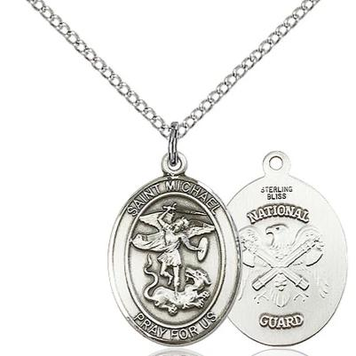"St. Michael National Guard Medal Necklace - Sterling Silver - 3/4 Inch Tall x 1/2 Inch Wide with 18"" Chain"