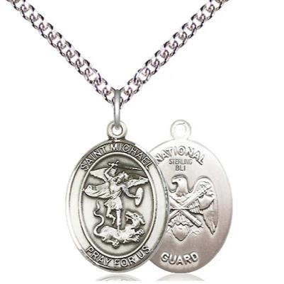 "St. Michael National Guard Medal Necklace - Sterling Silver - 3/4 Inch Tall x 1/2 Inch Wide with 24"" Chain"