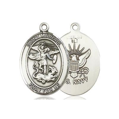 "St. Michael Navy Medal Necklace - Sterling Silver - 3/4 Inch Tall x 1/2 Inch Wide with 24"" Chain"