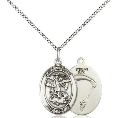 "St. Michael Paratrooper Medal Necklace - Sterling Silver - 3/4 Inch Tall x 1/2 Inch Wide with 18"" Chain"