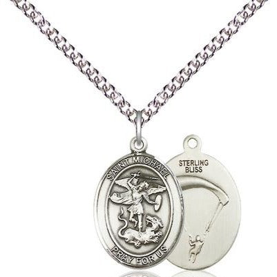 "St. Michael Paratrooper Medal Necklace - Sterling Silver - 3/4 Inch Tall x 1/2 Inch Wide with 24"" Chain"